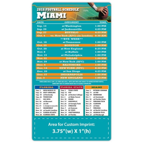 "Miami Dolphins Pro Football Schedule Magnets 4"" x 7"""