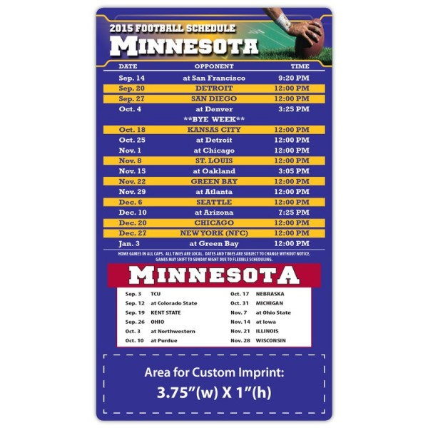 "Minnesota Vikings Pro Football Schedule Magnets 4"" x 7"""