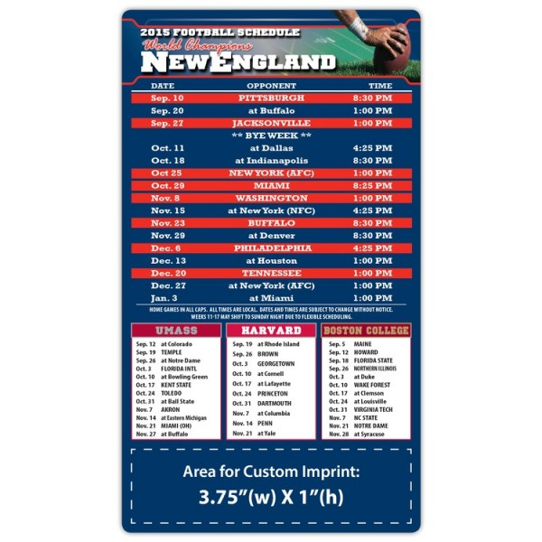 "New England Patriots Pro Football Schedule Magnets 4"" x 7"""