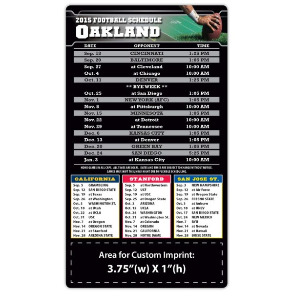"Oakland Raiders Pro Football Schedule Magnets 4"" x 7"""