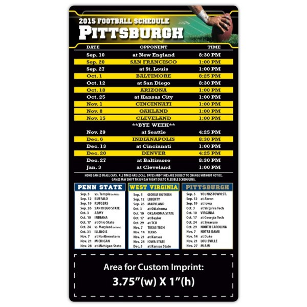 "Pittsburgh Steelers Pro Football Schedule Magnets 4"" x 7"""