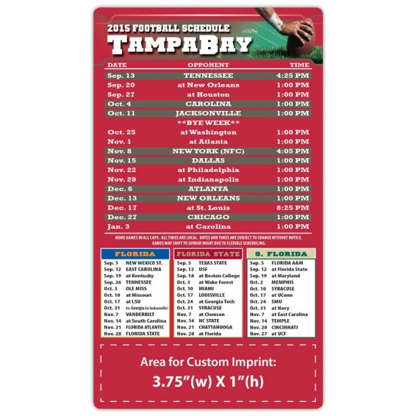 "Tampa Bay Buccaneers Pro Football Schedule Magnets 4"" x 7"""