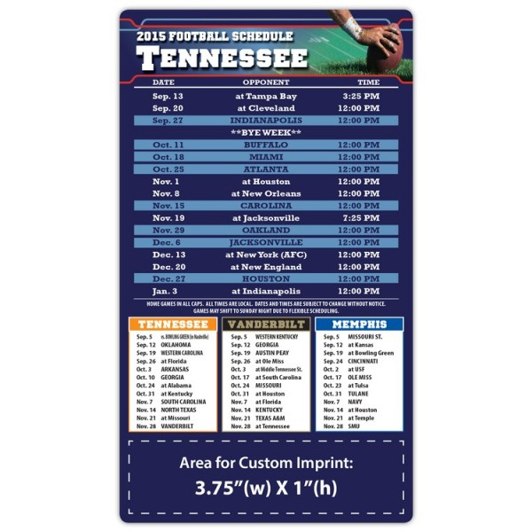 "Tennessee Titans Pro Football Schedule Magnets 4"" x 7"""