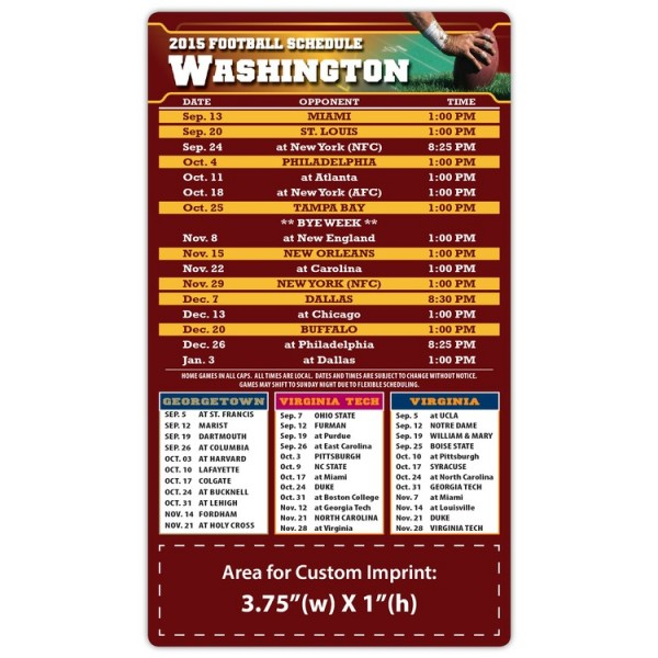 "Washington Redskins Pro Football Schedule Magnets 4"" x 7"""