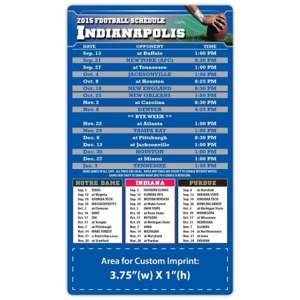 """Indianapolis Colts Pro Football Schedule Magnets 4"""" x 7"""""""