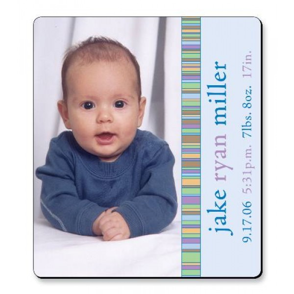 "3.5"" x 4"" Baby Announcement with Rounded Corners - Blue Stripes Design"