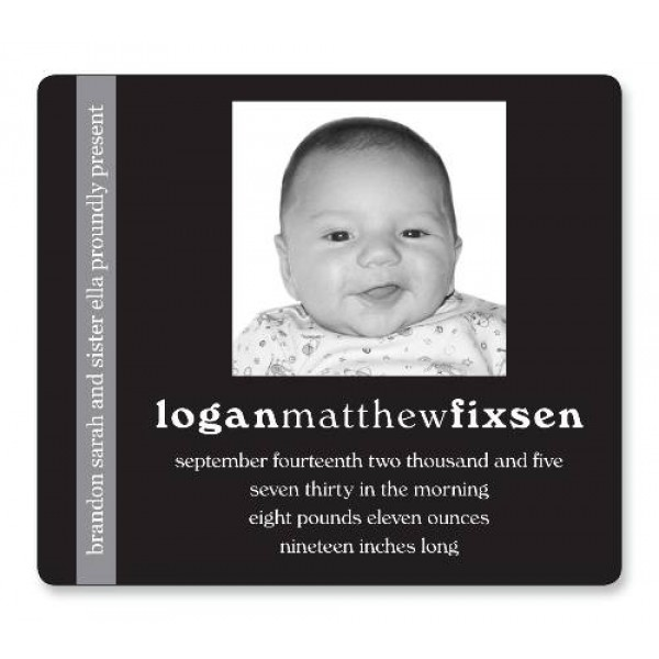 "3.5"" x 4"" Custom Baby Announcement with Rounded Corners - Black/Gray Design"