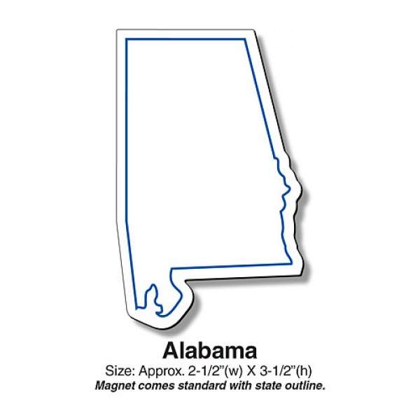 "Alabama Shaped State Magnet - 2.5"" x 3.5"""