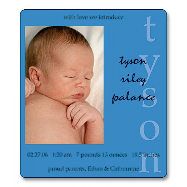 "3.5"" x 4"" Custom Baby Announcement Magnets - Blue Design"