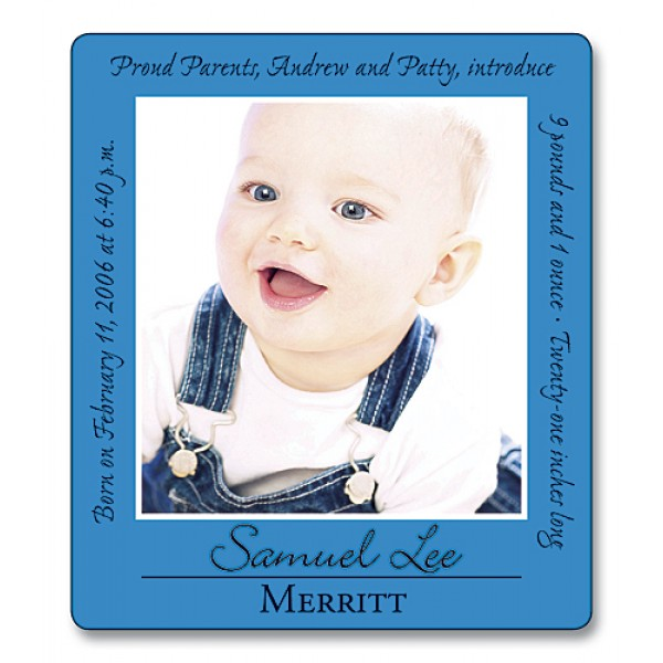 """3.5"""" x 4"""" Custom Baby Announcement with Rounded Corners - Blue Border"""