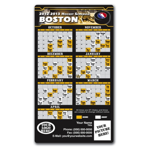 Boston Bruins Pro Hockey Schedule Magnets