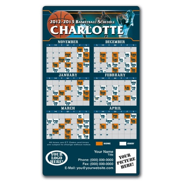 "Charlotte Bobcats Basketball Team Schedule Magnets 4"" x 7"""