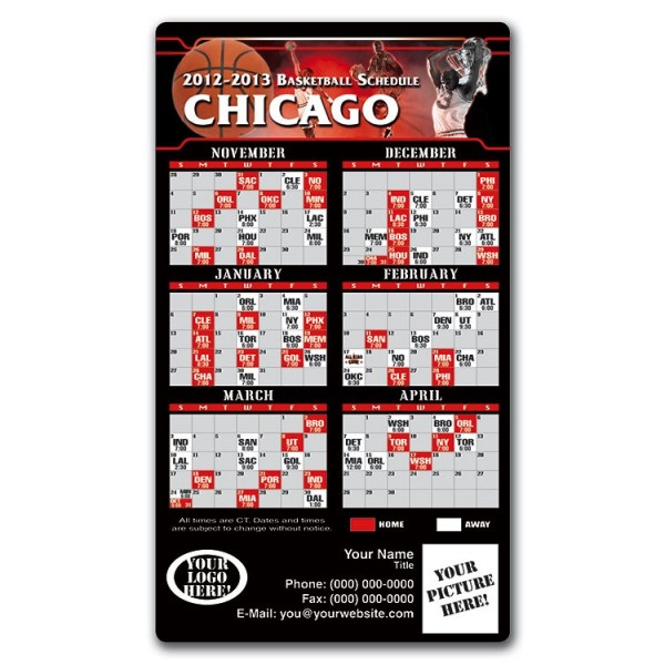 "Chicago Bulls Basketball Team Schedule Magnets 4"" x 7"""