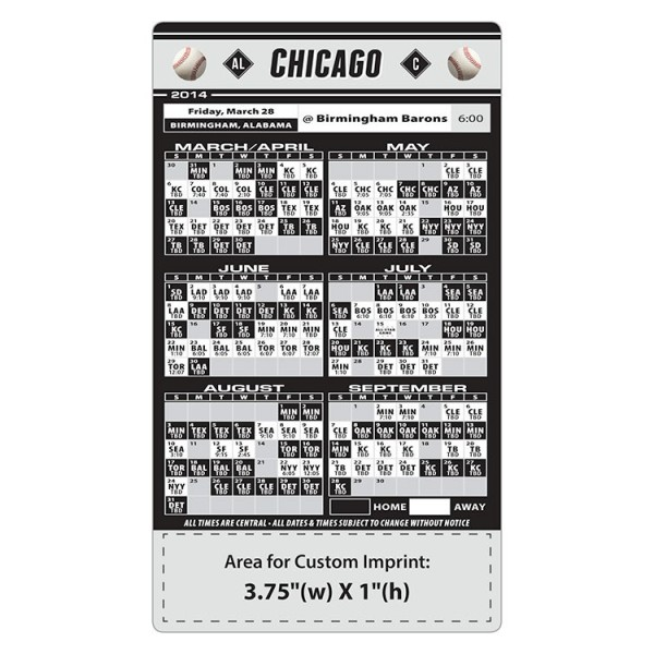 "Chicago White Sox Baseball Team Schedule Magnets 4"" x 7"""
