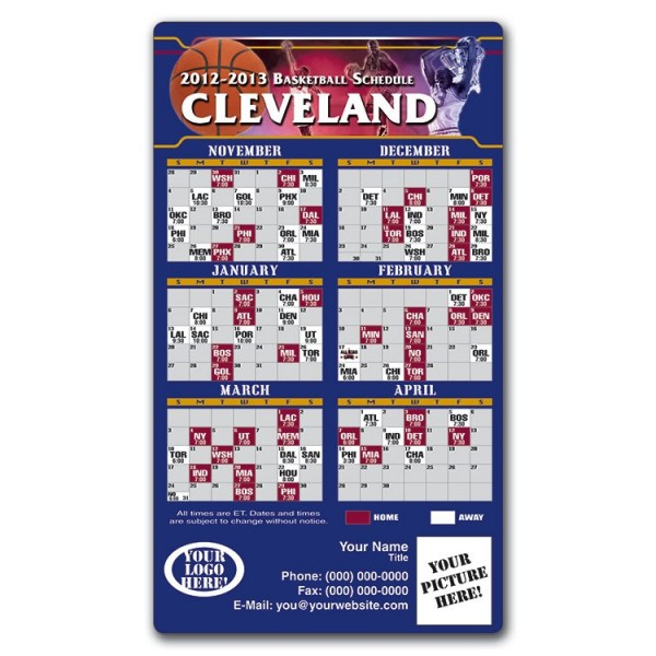 """Cleveland Cavaliers Basketball Team Schedule Magnets 4"""" x 7"""""""