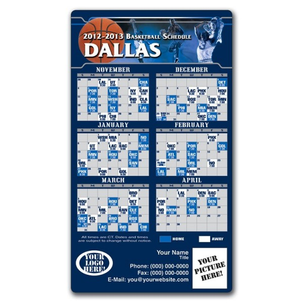 "Dallas Mavericks Basketball Team Schedule Magnets 4"" x 7"""
