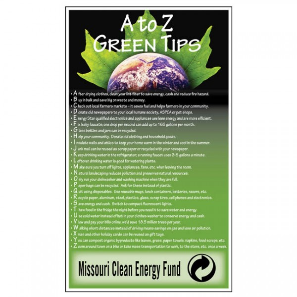 "3.5"" x 6"" ""A To Z Green Tips"" Eco-Friendly Fridge Magnets"