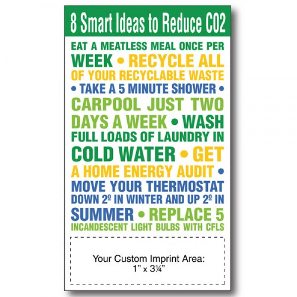 "3.5"" x 6"" - 8 Smart Ideas To Reduce CO2 Eco-Friendly Magnets"