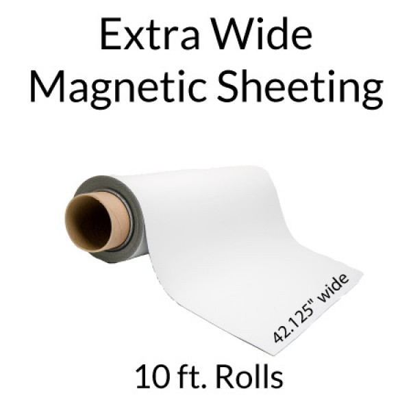 Extra Wide Magnet Roll with White Vinyl 10' Rolls