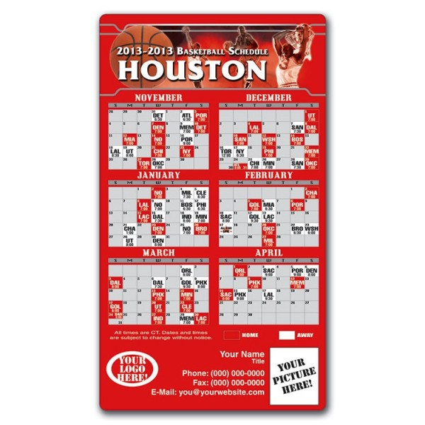 "Houston Rockets Basketball Team Schedule Magnets 4"" x 7"""