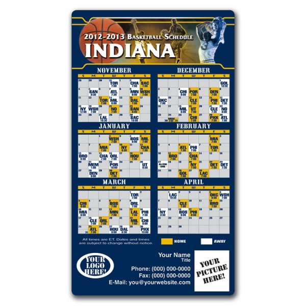 "Indiana Pacers Basketball Team Schedule Magnets 4"" x 7"""