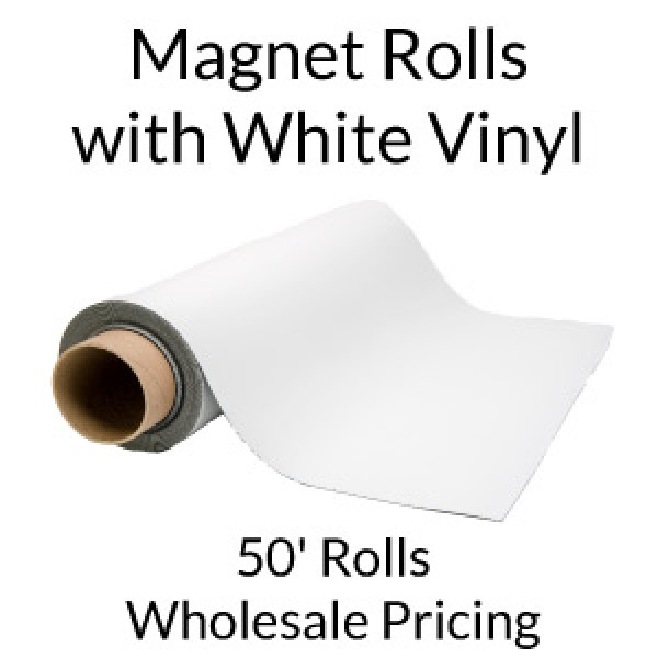 White Vinyl 50' Magnet Rolls - Wholesale Pricing
