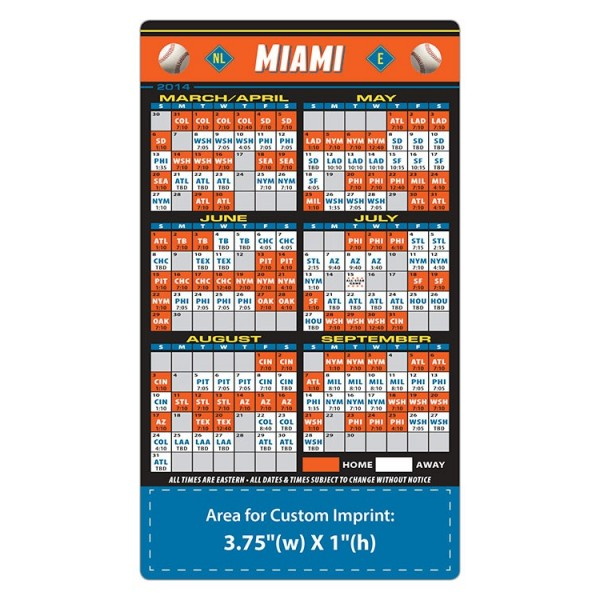 "Custom Miami Marlins Baseball Team Schedule Magnets 4"" x 7"""