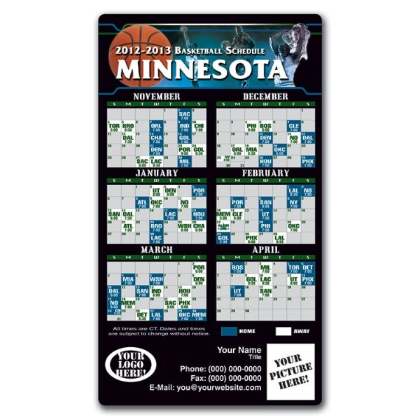 "Minnesota Timberwolves Basketball Team Schedule Magnets 4"" x 7"""