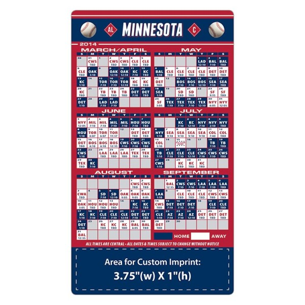 "Minnesota Twins Baseball Team Schedule Magnets 4"" x 7"""