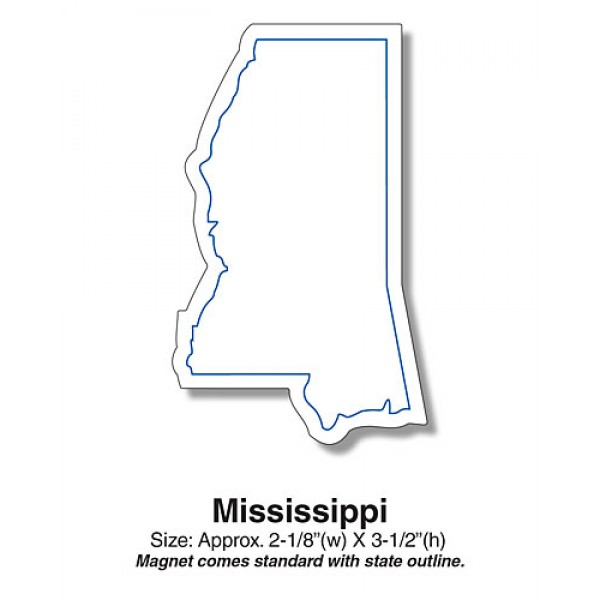 "Mississippi State Shaped Fridge Magnets- 2.125"" x 3.5"""