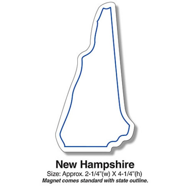 "Custom New Hampshire State Shaped Magnets - 2.25"" x 4.25"""