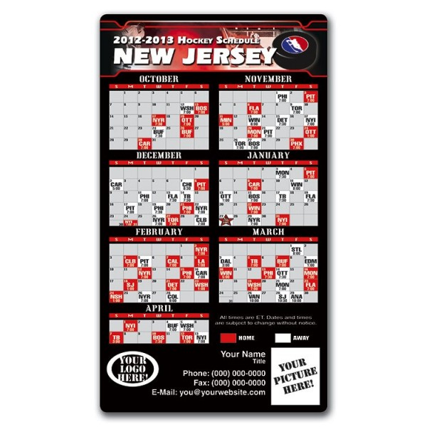 "New Jersey Devils Pro Hockey Schedule Magnets 4"" x 7"""