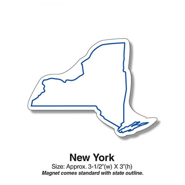 "Custom New York State Shaped Magnets - 3.5"" x 3"""