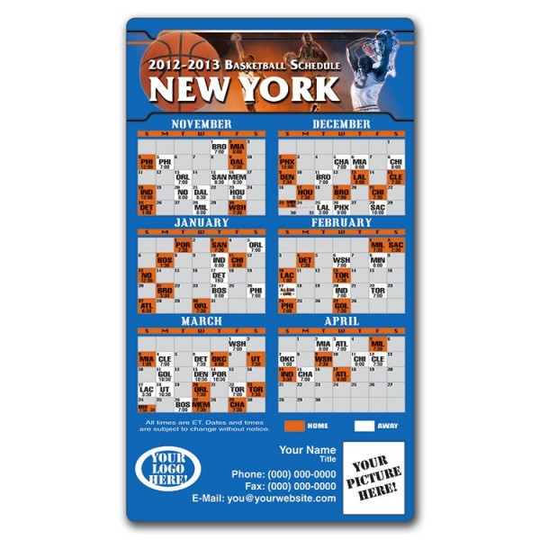 "New York Knicks Basketball Team Schedule Magnets 4"" x 7"""