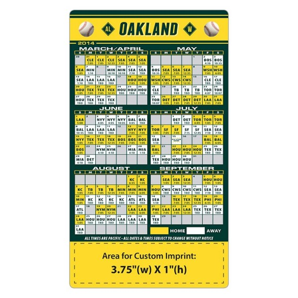 Custom Oakland Athletics Baseball Team Schedule Magnets