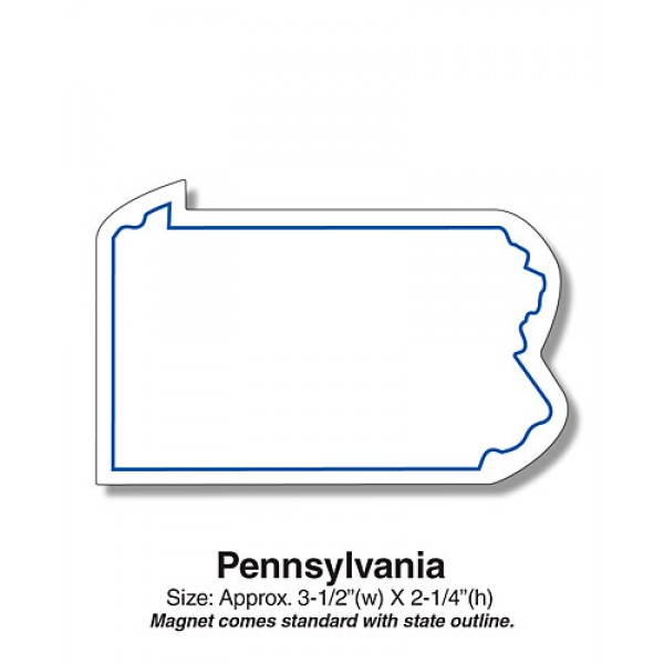 "Custom Pennsylvania State Shaped Magnets - 3.5"" x 2.25"""