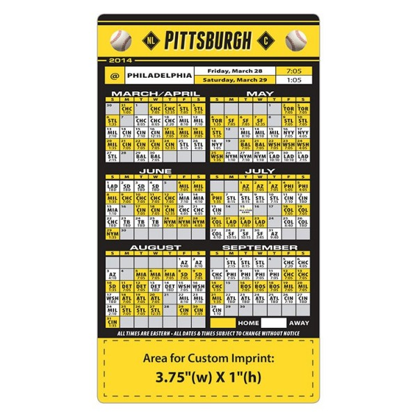 Custom Pittsburgh Pirates Baseball Team Schedule Magnets
