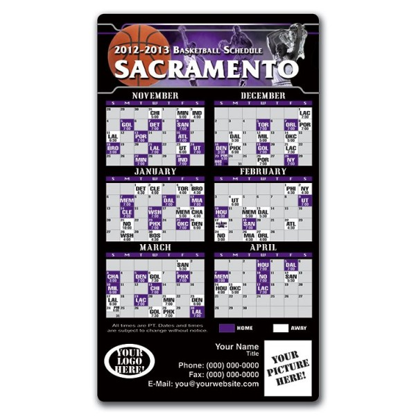 "Sacramento Kings Basketball Team Schedule Magnets 4"" x 7"""