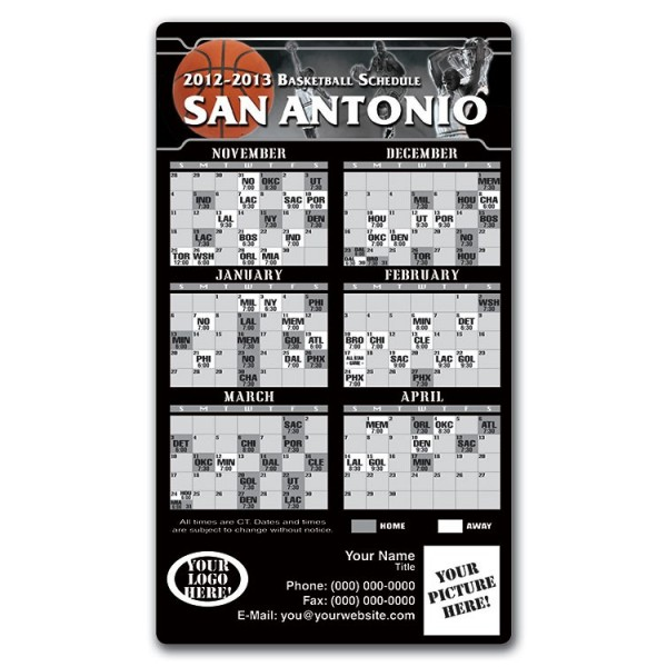 graphic relating to Spurs Schedule Printable referred to as San Antonio Spurs Basketball Staff members Plan Magnets 4\