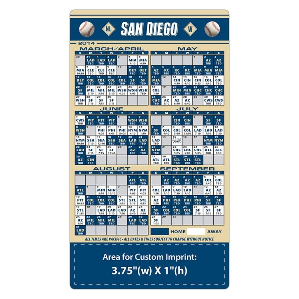 "Custom San Diego Padres Baseball Team Schedule Magnets 4"" x 7"""