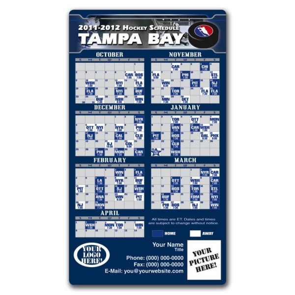 "Tampa Bay Lightning Pro Hockey Schedule Magnets 4"" x 7"""