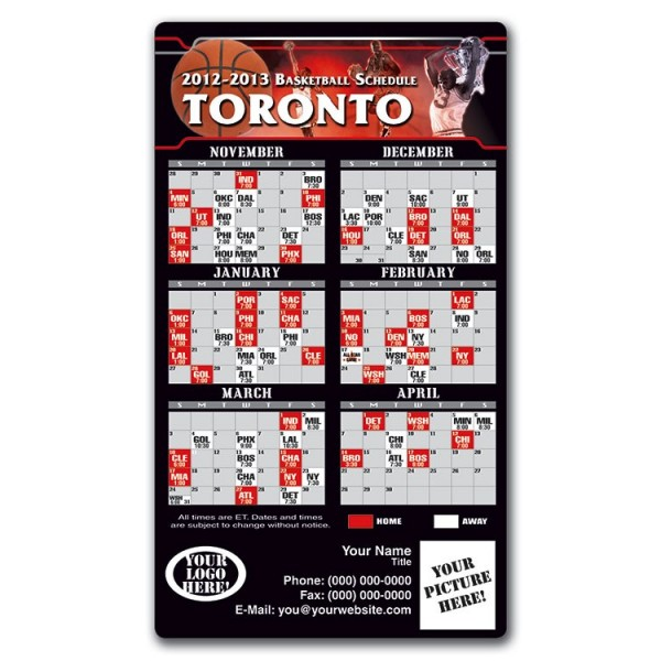 "Toronto Raptors Basketball Team Schedule Magnets 4"" x 7"""