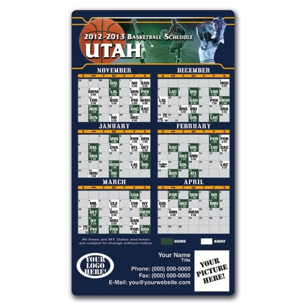 "Utah Jazz Basketball Team Schedule Magnets 4"" x 7"""