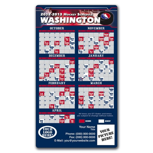 "Washington Capitals Pro Hockey Schedule Magnets 4"" x 7"""