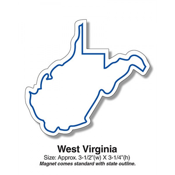 """Show your """"Mountain State"""" pride with our West Virginia Shaped Fridge Magnets."""