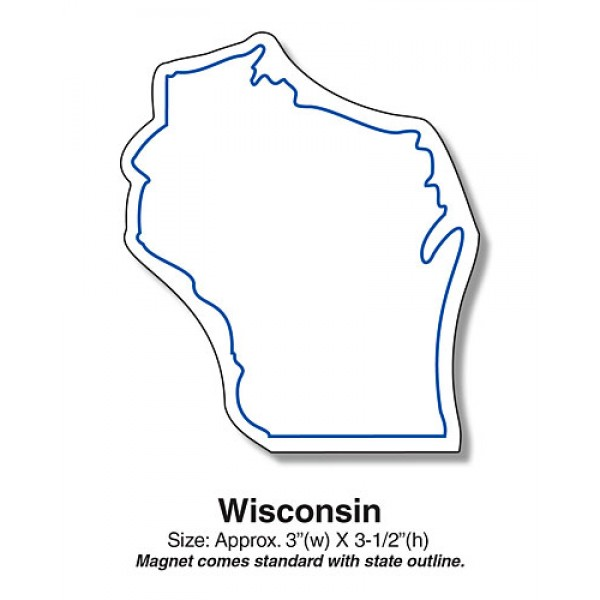 "Show your ""Badger State"" pride with our Wisconsin State Shaped Fridge Magnets."